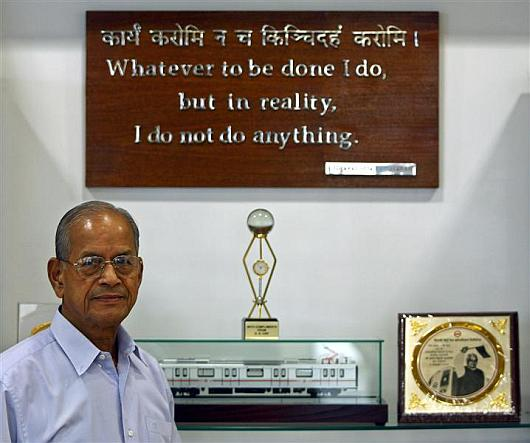 Delhi Metro Rail Corporation's former managing director Elattuvalapil Sreedharan.