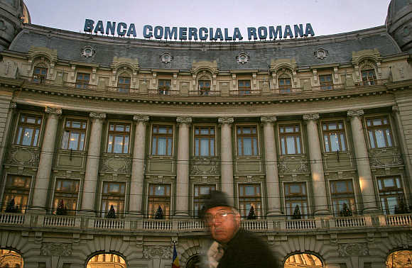 Central headquarters of Banca Comerciala Romana in Bucharest, Romania.