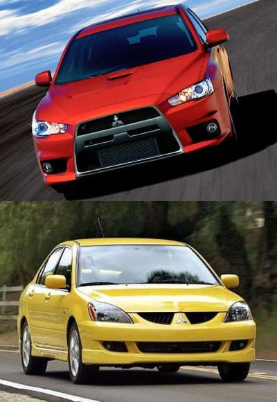 Mitsubishi Lancer EVO X (on top) and Cedia Sports.