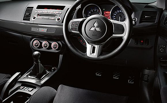 Interior of Mitsubishi Lancer EVO X.