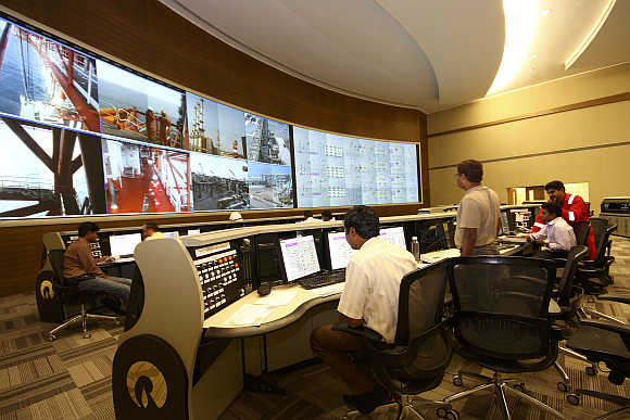 The control room of Reliance Industries KG-D6 facility in Andhra Pradesh.