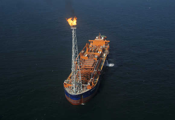 Reliance Industries KG-D6's floating production storage and offloading vessel is seen off the Bay of Bengal.