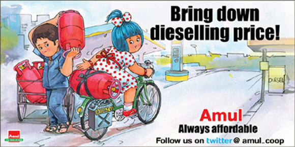 Amul Ad on diesel price hike.