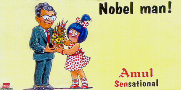 Amul Ad on Amartya Sen winning the Nobel Prize.