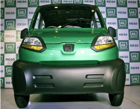 The newly launched Bajaj's first-ever four-wheeled vehicle RE60 is pictured in New Delhi.