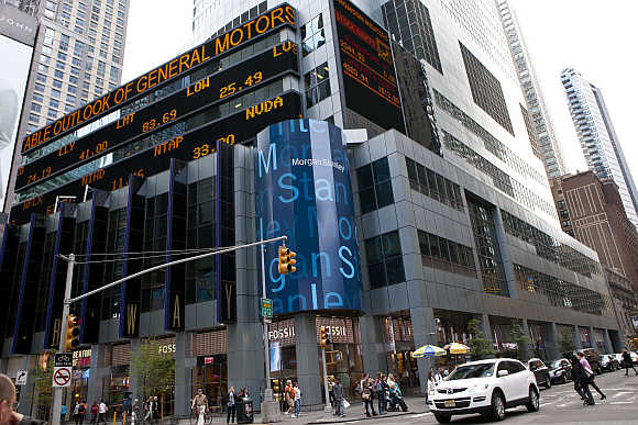 Morgan Stanley's New York headquarters at the corner of 48th Street and Broadway in New York.