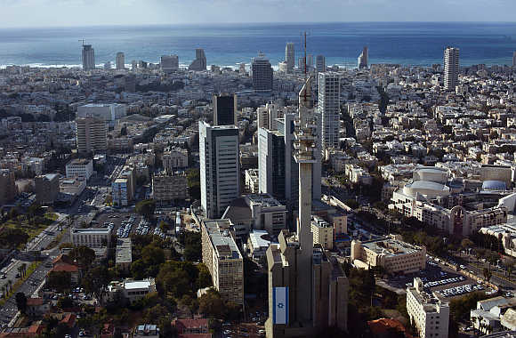 A view of central Tel Aviv backed by the Mediterranean Sea, Israel.