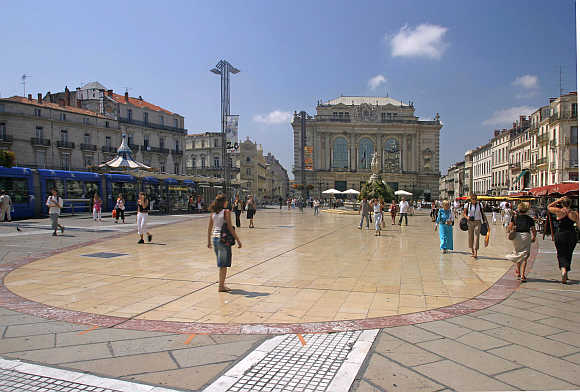 A view of the Place de la Comedie in Montpellier, southern France.