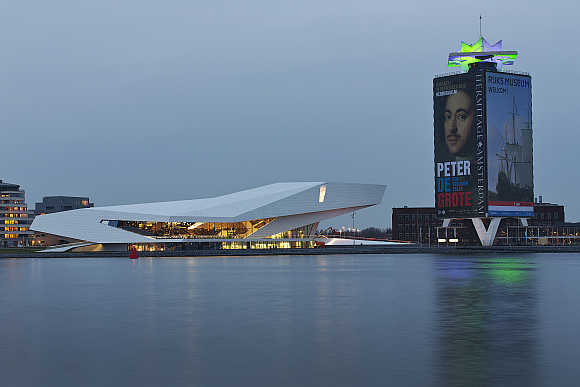 Nightview of the modern Eye Film museum, located at the IJ river, in Amsterdam, the Netherlands.