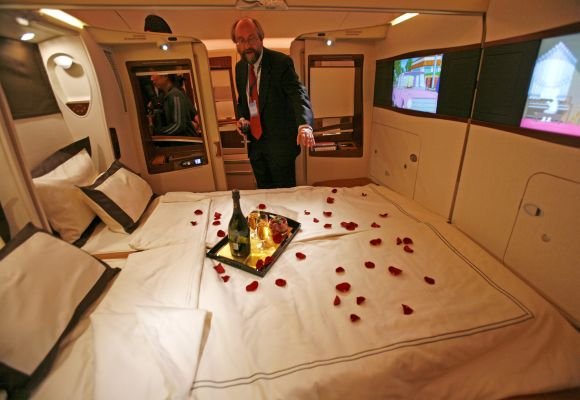 A double bed first class suite during a media tour of the Airbus A380 superjumbo.