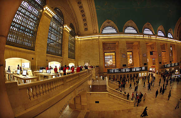 A view of Apple Store on the East Balcony in New York City's Grand Central Station.