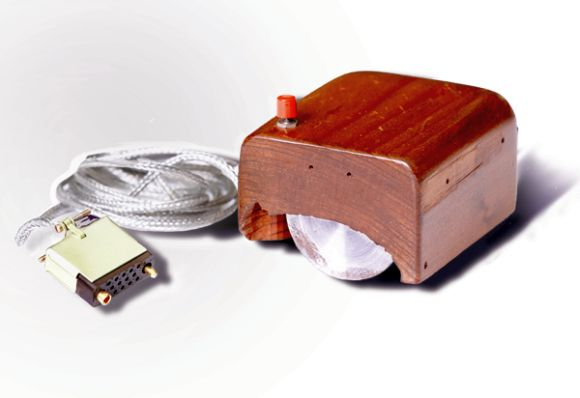 The first prototype of a computer mouse, as designed by Bill English from Engelbart's sketches.