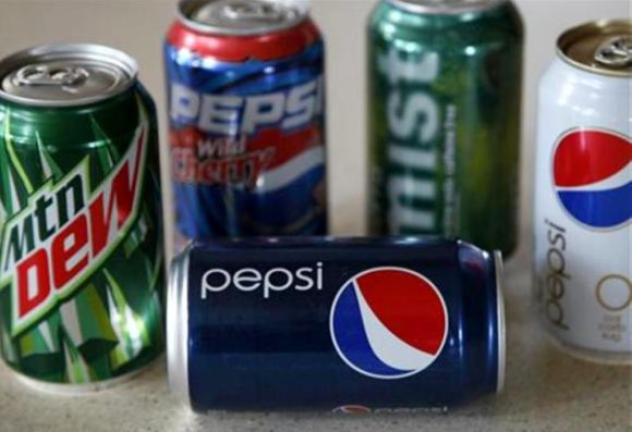 A variety of soft drinks produced by Pepsico are seen on a kitchen counter in Golden, Colorado.