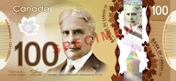 100 Canadian dollars banknote that freatures Robert Borden.