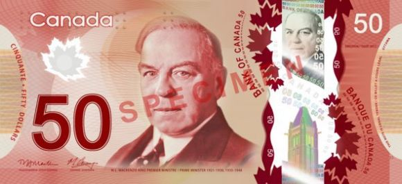 50 Canadian dollars banknote that freatures William Lyon Mackenzie King.