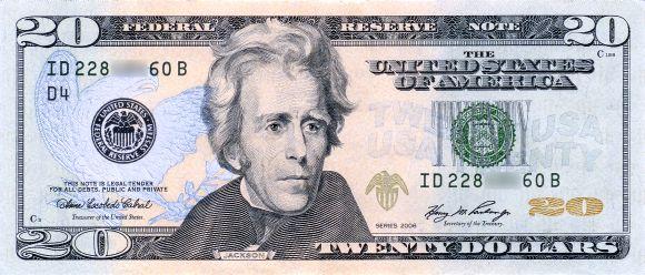 US $20 bill.