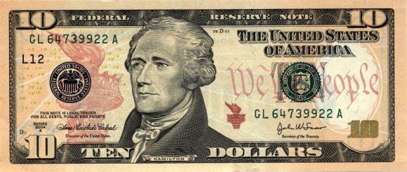 US $10 bill.