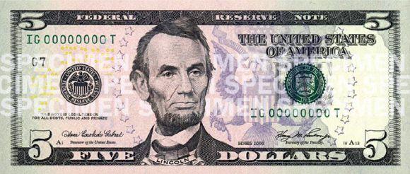 US $5 bill.