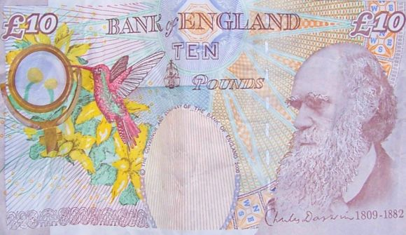 10 pounds banknote that features naturalist Charles Darwin.