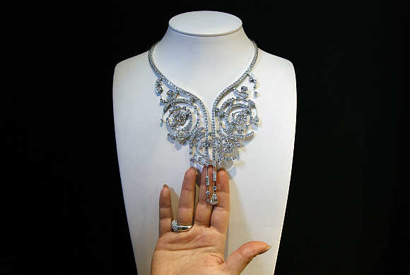 'Summer Storm', a white gold necklace with four pear-shaped and six round diamonds valued at $750,000, in Antwerp, Belgium.