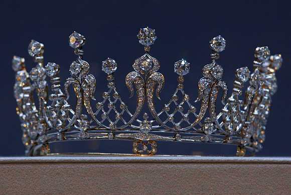 'The Mike Tood', an antique diamond tiara which belonged to the late actress Elizabeth Taylor, in Hong Kong.