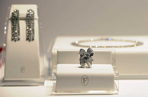 Diamond jewellery in Milan, Italy.