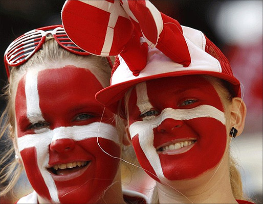 Fans of Denmark's fooftbal team.