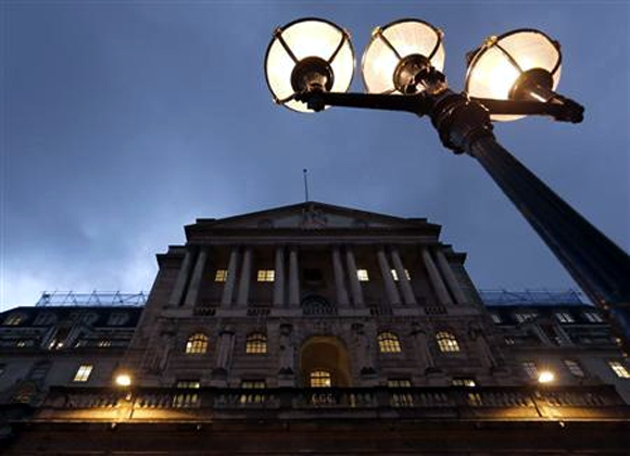 A general view shows the Bank of England in the city of London.