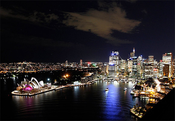 Sydney city skyline during Earth Hour.