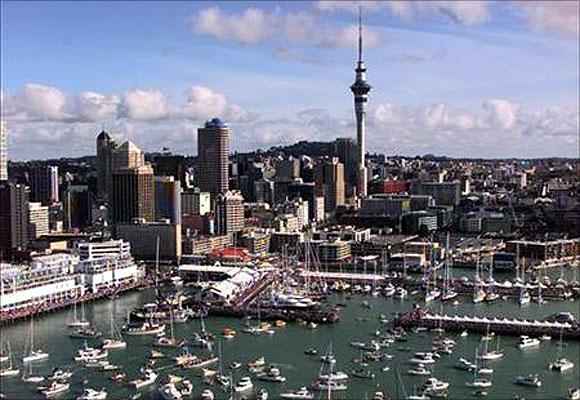 Auckland skyline.