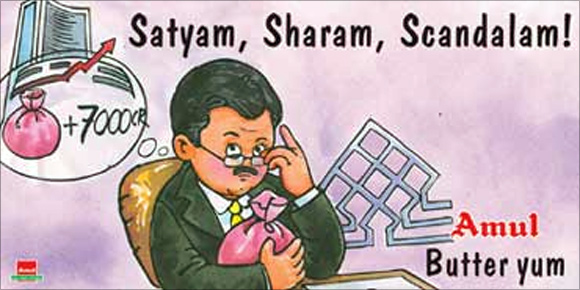 Image result for satyam scandal amul ad