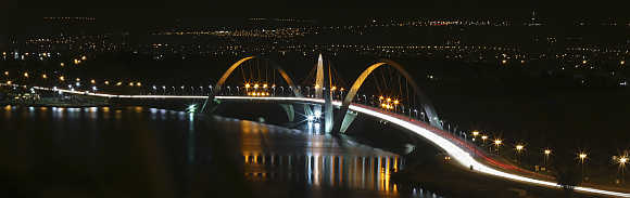 A view of the Juscelino Kubitschek bridge in Brasilia, Brazil.