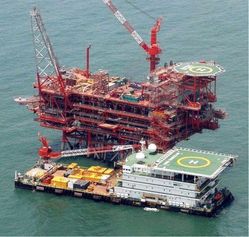 India's Reliance Industries KG-D6's control and raiser platform is seen off the Bay of Bengal.