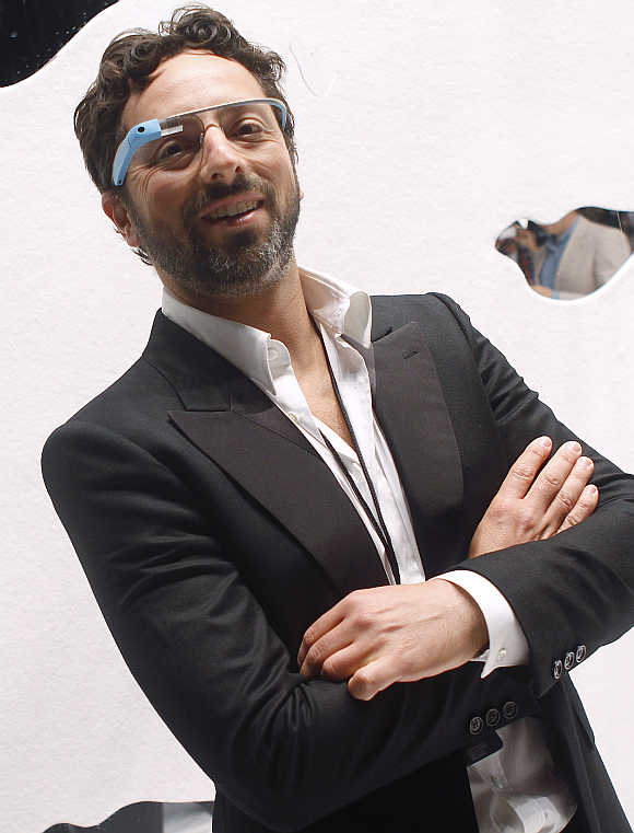 Google founder Sergey Brin wearing Google Glass in New York.