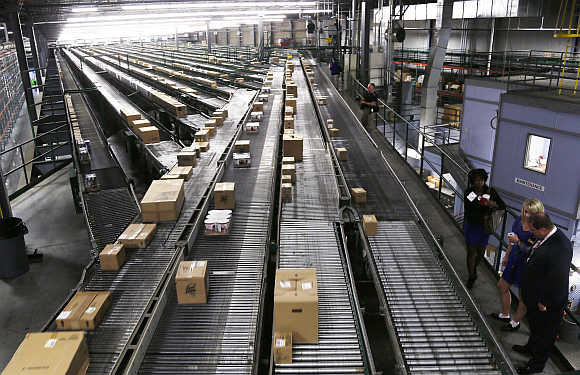 Conveyors at a Walmart Stores's distribution centres in Bentonville, Arkansas.