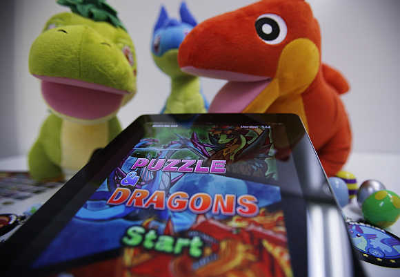 GungHo Online Entertainment's mobile online game Puzzle and Dragons on an iPad at the company's offices in Tokyo.