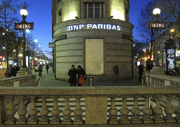 Paris headquarters of the BNP Paribas bank near the entrance to the Richelieu-Drouot Metro station in the French capital.