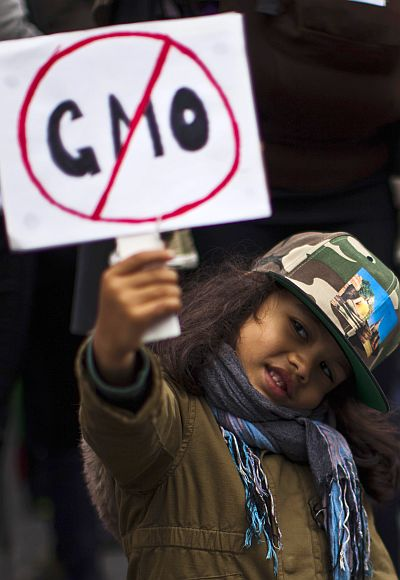 A girl holds up a sign during a protest against US-based Monsanto.
