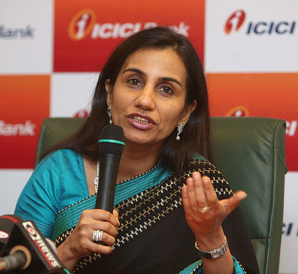 Chanda Kochhar speaks during a news conference in Mumbai.