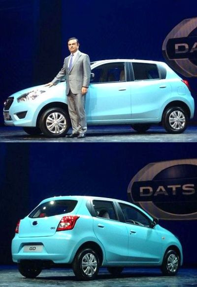 Nissan Motor Co President and CEO Carlos Ghosn (above) at the Go unveiling event.