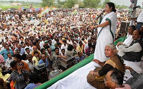 A file photo of Mamata Banerjee, then the chief of Trinamool Congress, speaking during a protest rally in front of Tata Motors' Nano plant at Singur.
