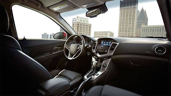 Interior of the 2014 Cruze LTZ with Jet Black leather.