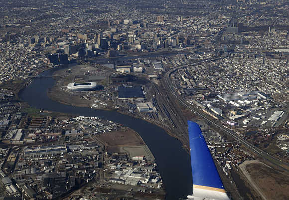 City of Newark is seen from a United Airlines commuter jet as it takes off from Liberty International Airport in Newark, New Jersey.