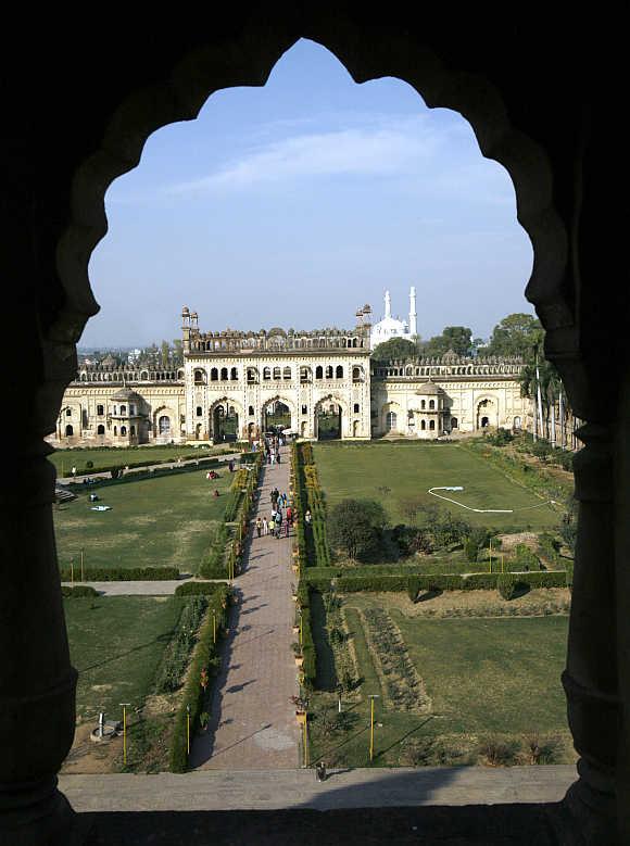 Visitors walk inside Asafi Imambara, also known as Bara Imambara, in Lucknow.