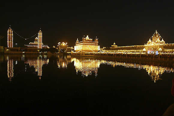 A view of Golden Temple in Amritsar.