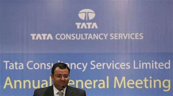 Tata Group Chairman Cyrus Mistry speaks to shareholders during the TCS annual general meeting.