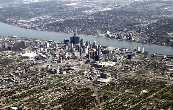 An aerial view of Detroit seen from Air Force One.