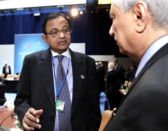 Finance Minister Palaniappan Chidambaram at the G20 finance ministers meeting.