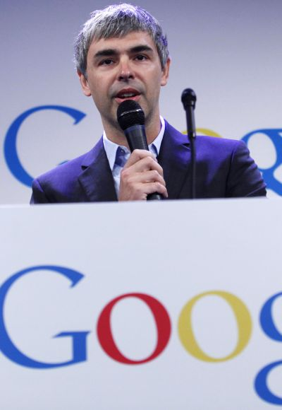 Google CEO Larry Page speaks during a press announcement.