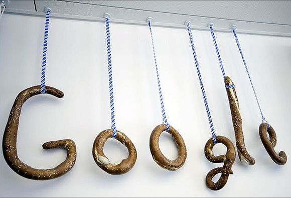 The Google logo is made out of Bavarian pretzels.